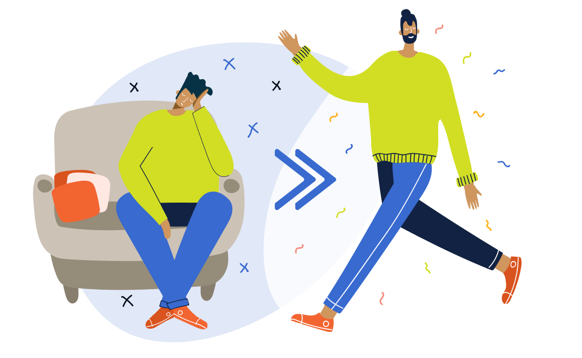 Illustration of depressed student on couch transforming to happy striding student