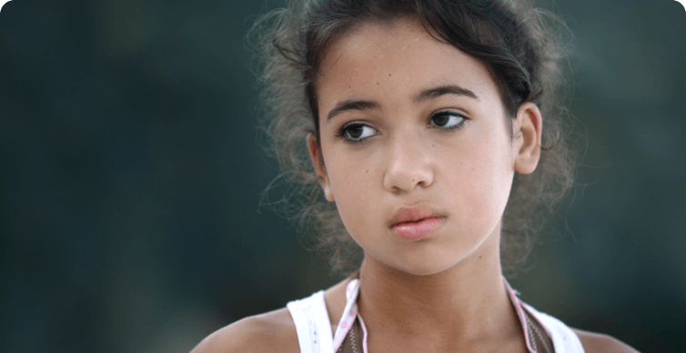 Photo of girl with sad expression